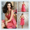 BD03 Elegant scoop neckline Sleeveless Knee-length satin Bridesmaid dress