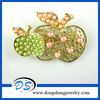 Gold Tone Double Apple Brooch Pin With Glass Bead