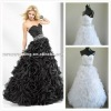 White Black Organza Sweetheart Ball Gown Strapless Prom Dress