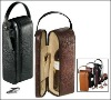 Croco Leather Wine Carrier With Handle