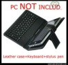 "Wholesale 7"" inch keyboard case Leather case with usb keyboard bracket for epad ebook mid Tablet PC"