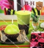 BH070144-145 cone & coffee ball candle , green top and coffee bean base home decoration