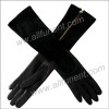Ladies long sheepskin gloves with  zipper