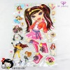 Cute music girl cartton room wall decorative fashion sticker