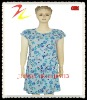 Breathable All Over Printed Jersey Womens Sleepwear Dress
