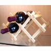 natural folding wood wine rack for 3bottles