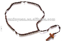 Wooden beads Cross pendant necklace jewelry