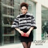 New Lady's Rex Rabbit fur coat with stripe Black