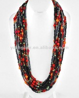 Black & Red Acrylic Seed Bead and Long Multi Strand Necklace