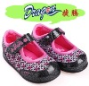 Sweety girls new develop dress shoes with shining pu flower