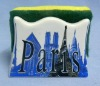 Porcelain sponge holder with Paris design
