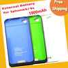For iPhone 4 4S 4G External Rechargeable Backup 1900mah Battery Charger Case Cover free shipping (With retail box)