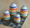 4pcs stoneware canister set with hand painting