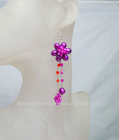 free shipping!!!hot on sale WIRED FLOWER EARRING DANGLE WITH PEARL QUARTZ