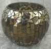 Handmade mosaic glass candle holder in amber with mirror color