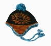 lady jacquard knitted earflap hat