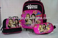 stock beautiful girl trolley school backpack set