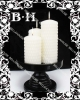 BH070141 3 pcs pillar candles with rain-drop surface on a black agile plate.party candle