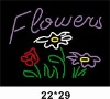 Flowers neon sign with logo