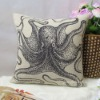 Linen Black Octpus Printed Modern Decorative Pillow Cover / Cushion Case 18""