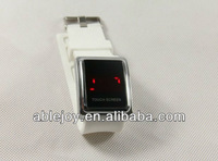 White watchband led touch screen watch