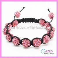 cc3001 Hot Pink Crystal Shamballa Bracelets