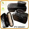 2013 new design quilted patent leather cosmetic bag set