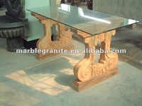 Beige Sandstone Glass Top Stone Base Tables