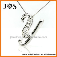 925 Sterling Silver Pendant Shaped Letter Y Fashion CZ Pendant