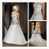 White Satin Strapless Sash Appliqued Mermaid Bridal Wedding Dresses