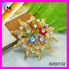 2012 RHINESTONE BROOCH IN FLOWER SHAPE WITH COLORFUL DIAMONDS FOR CORSAGE WHOLESALE