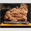 Chinese Art Work Rosewood Carved Sculpture Buddha Pleasure Statue CTH