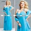 AZV001 Halter Sweetheart with sash A-line Chiffon Plus size evening dresses