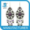 alloy round diamond vintage earrings with tassels