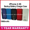 External Backup Power Battery Charger Case Cover For iPhone 4 4G 4S