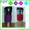 double walled stainless steel vacuum mug with silicone grip
