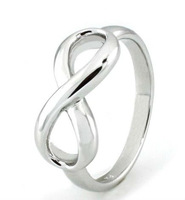 Rhodium plated 8 figure solid 925 sterling silver infinity ring