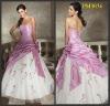 2012 taffeta ruffle embroidery white and pink prom dresses