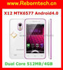 WCDMA 3G Cell Phone built in GPS Music X12 MTK 6577 Dual Core Dual SIM