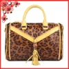 Leopard horse hair genuine leather with tassle women's handbag ladies long strap shoulder handbags