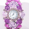charm flower cuff watch Bangle bracelets