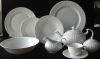 47pcs embossed tableware super white porcelain dinner set