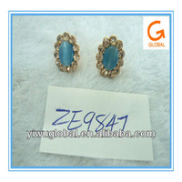 Blue cat's eye earring with yellow crystals