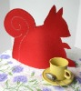 Squirrel Tea Cozy in Red Wool Felt