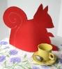 Squirrel Tea Cozy in Red Wool Felt