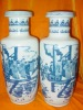 PAIR TALL Blue and White Porcelain PEOPLE WARE VASES