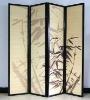 decorative 4 panel folding bamboo room divider screen