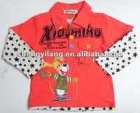 Kids cotton False two Sweatshirt with star cuff & polo collar