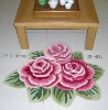 polyester rose rug cotton carpet anti slip