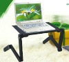 Foldable small laptop computer table with a USB cooling fan